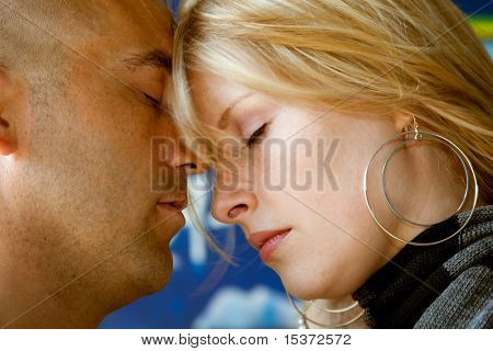 closeup young natural attractive couple