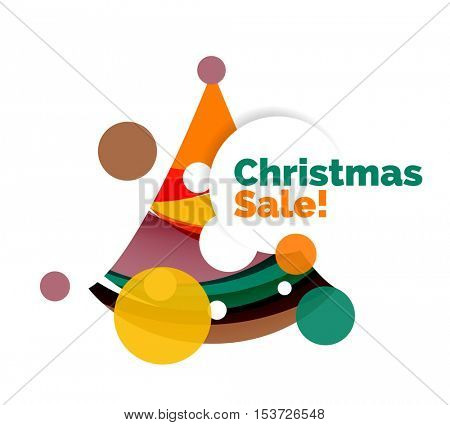 Abstract geometric Christmas banner. Vector illustration with copyspace