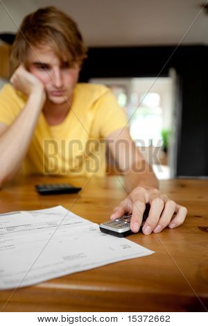 problems wit paying bill. Focus on hand and mobile