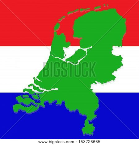 Map of Netherlands depicted in the background of the national flag