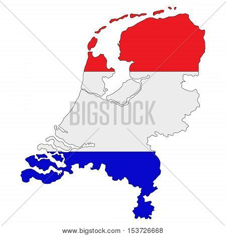 Map of Netherlands painted in national flag colors