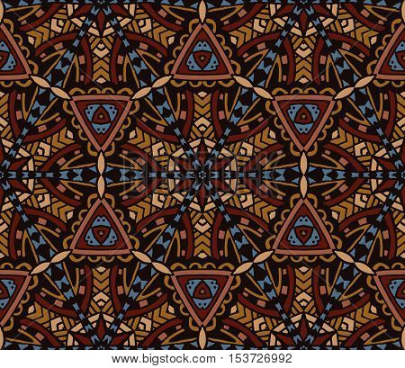 abstract indian tiles vintage ethnic brown seamless vector pattern ornamental