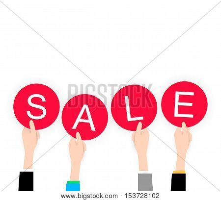 White flat Hands holding sale label for black friday. Vector icon for web or app. Infographics. Business discount for people. Trending material flat style with shadow. White background.