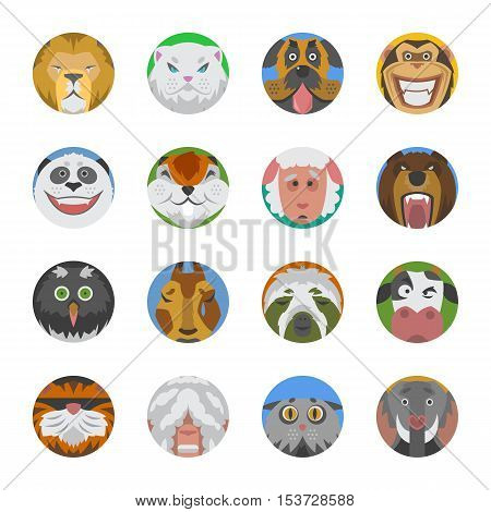 Cute animals emotions icons isolated fun face set. Happy character funny emoji set Wild avatar emoticon comic icons.