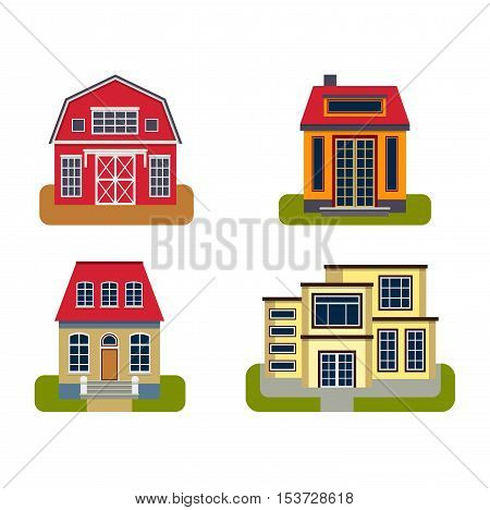 Houses front view vector illustrations. Houses flat style modern constructions vector .