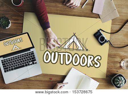 Outdoors Camping Tent Graphic Concept