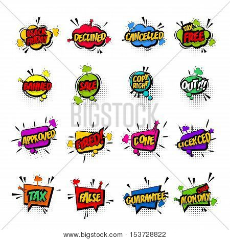 Comic business collection colored cloud pop art vector style black friday, cyber monday. Set message bubble speech with comic cartoon expression illustration. Comics book background template.