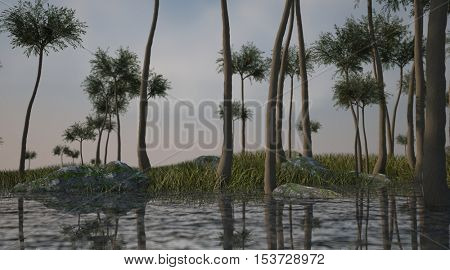 3d illustration of the prehistoric swamp with Lepidodendron aculeatum trees