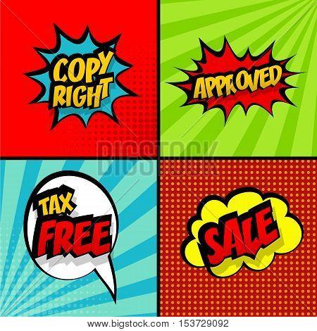 Set comic collection colored cloud pop art vector style. Message bubble sound background speech comic cartoon expressions