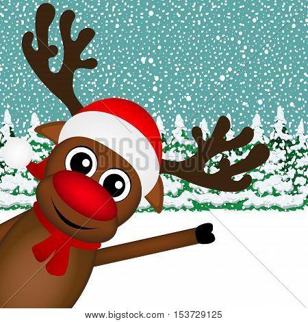 Reindeer peeking sideways in the forest vector illustration holiday