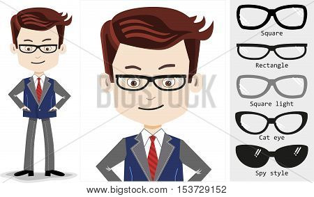 Man in business suit, stylish rectangle shaped glasses with additional glasses - square, light, cat eye and spy style.