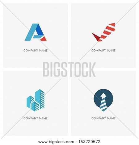 Business vector logo set. Tie and checkmark, necktie and arrow, blue skyscrapers and first letter of the alphabet - job, success and abstract icons.