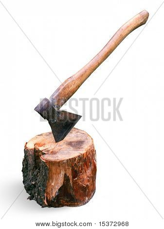 Axe and block isolated on white