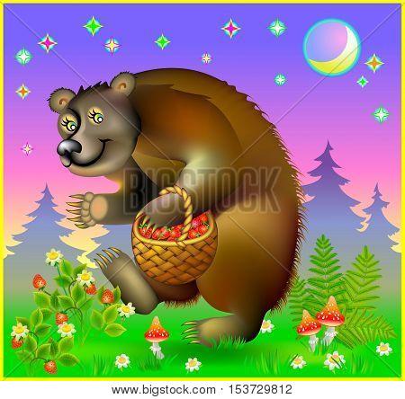 Illustration of bear holding basket of strawberries, vector cartoon image.