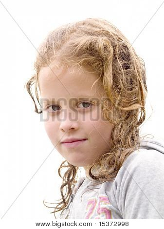 Little girl with wet hair isolated on white