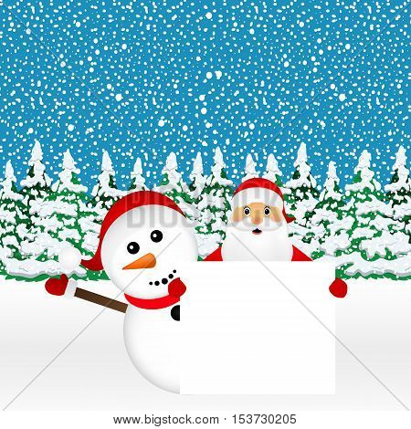 Santa Claus and snowman with white blank banner in the forest