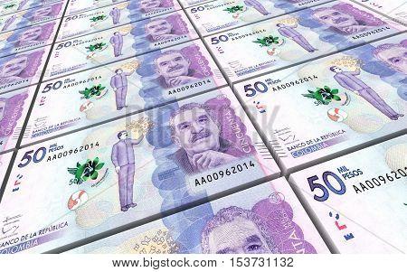Colombian pesos bills stacks background. 3D illustration.
