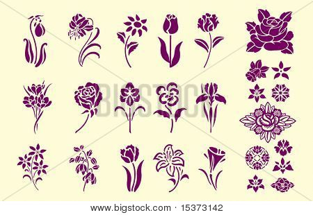 Victorian style floral ornament elements