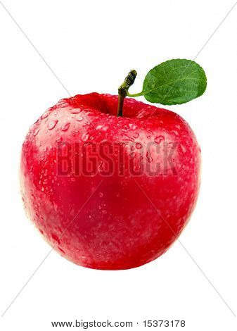 Red apple with leaf and watter drop purely isolated on white