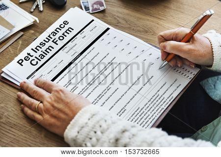 Pet Insurance Claim Document Form Concept