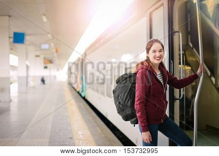 Stepping on to a train