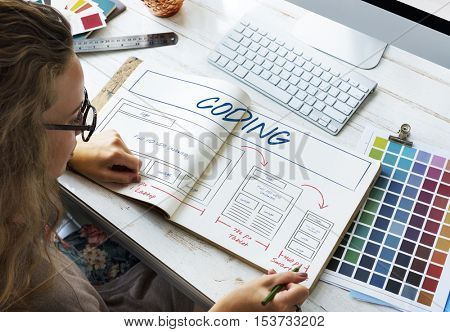 Web Layout Content Coding Template Data Design Concept