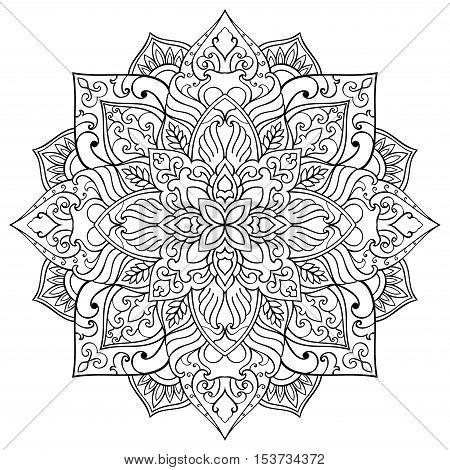 Vector floral mandala. Oriental stylized design element. Symbolic black and white ornament.