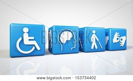 Four piece Disabled Symbol for World Disabled Day 3D Rendering Illustrations