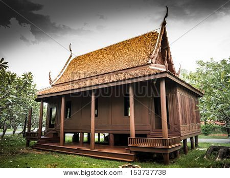 the old Thai ancient teak house for monk was build fifty years ago in northern of Thailand.