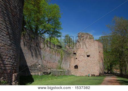 Nanstein Castle Ruins In The Courtyard