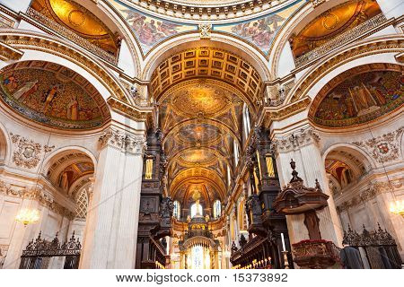 Interior Of The St Paul's Cathedral, London, Uk.