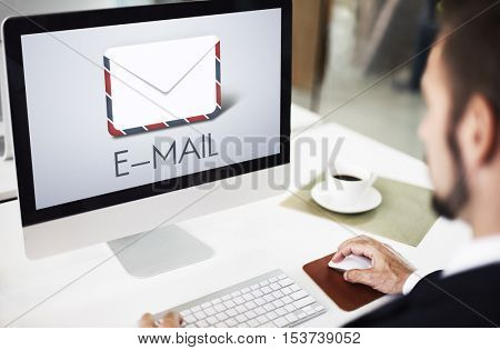Businessman Working Email Office Concept