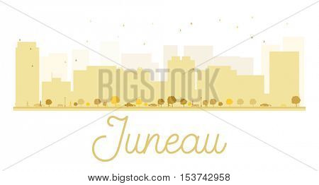 Juneau City skyline golden silhouette. Simple flat concept for tourism presentation, banner, placard or web site. Business travel concept. Cityscape with famous landmarks