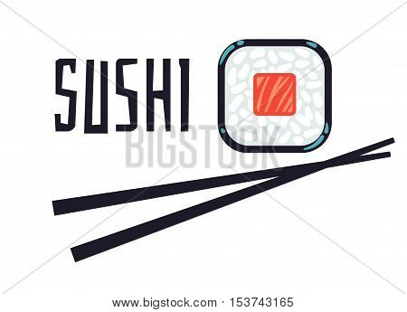 Sushi bar or restaurant logo template. Japanese menu, vector illustration