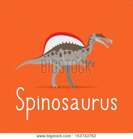 Spinosaurus dinosaur colorful card for kids playing vector illustration