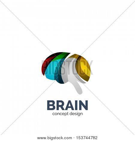 brain logo template, elegant geometric design