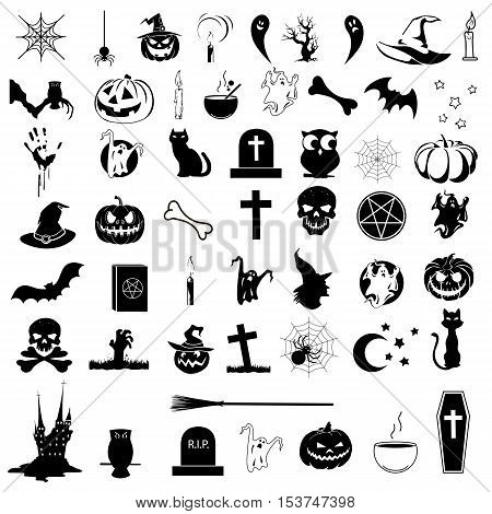 50 black and white icons on the theme of Halloween. Vector illustration