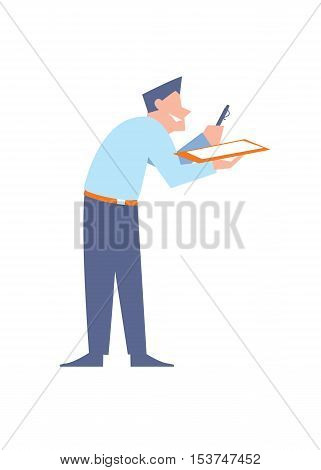 Smiling office clerk giving pen and clipboard for signature, isolated vector illustration on white background. Office life. Modern business people. Human resource.