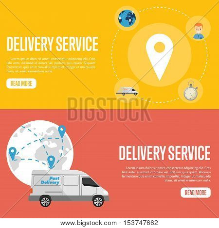 Map pointer on yellow background. White delivery truck on red background with globe. Delivery service website templates, vector illustration. Worldwide shipping and moving. International postage.