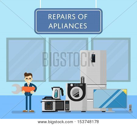 Repairs of appliances banner with mechanic and household electro technics vector illustration. Repairman with huge wrench. TV cinema, refrigerator, washing machine, microwave oven, kettle, etc.