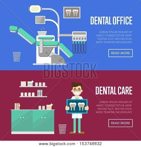 Dental care template with male dentist holding x-ray. Dental office template with modern medical equipment. Dentistry vector illustration. Healthcare and tooth care concept. Stomatology clinic design