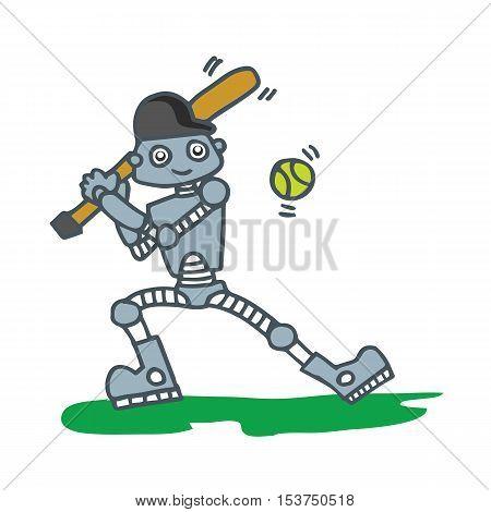 Robot playing baseball T-shirt design vector illustration