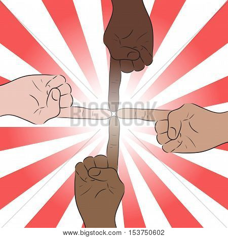Illustration of human hands of various nationalities joined forefingers. Unity.