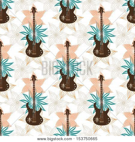 Seamless background with bass guitar and flowers.. Music wallpaper