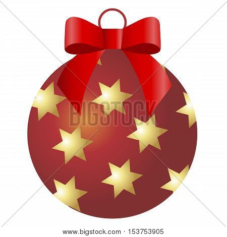 icon Christmas red ball with Golden stars and a red bow on a white background. Pattern for decoration or design. Vector illustration