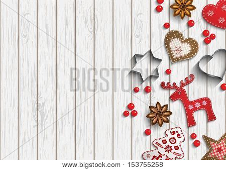 Christmas background, small scandinavian styled red decorations, berries and cutting forms lying on white wooden background, inspired by flat lay style, vector illustration, eps 10 with transparency