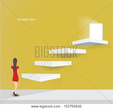 New opportunities concept vector background with businesswoman standing in front of the ladder.