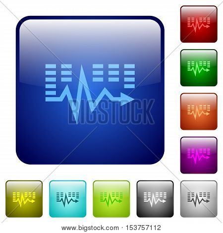 Music waves color glass rounded square button set
