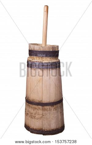 old butter churn isolated on a white background
