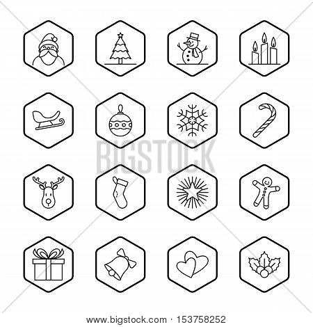 Christmas and new year icon set vector illustration - black outline with hexagon frame
